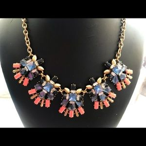 🔥JCrew OrangeBlue Rhinestone Statement necklace🔥